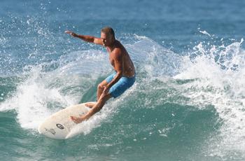 Surfing the Mar Azul point break in Malpais, Costa Rica