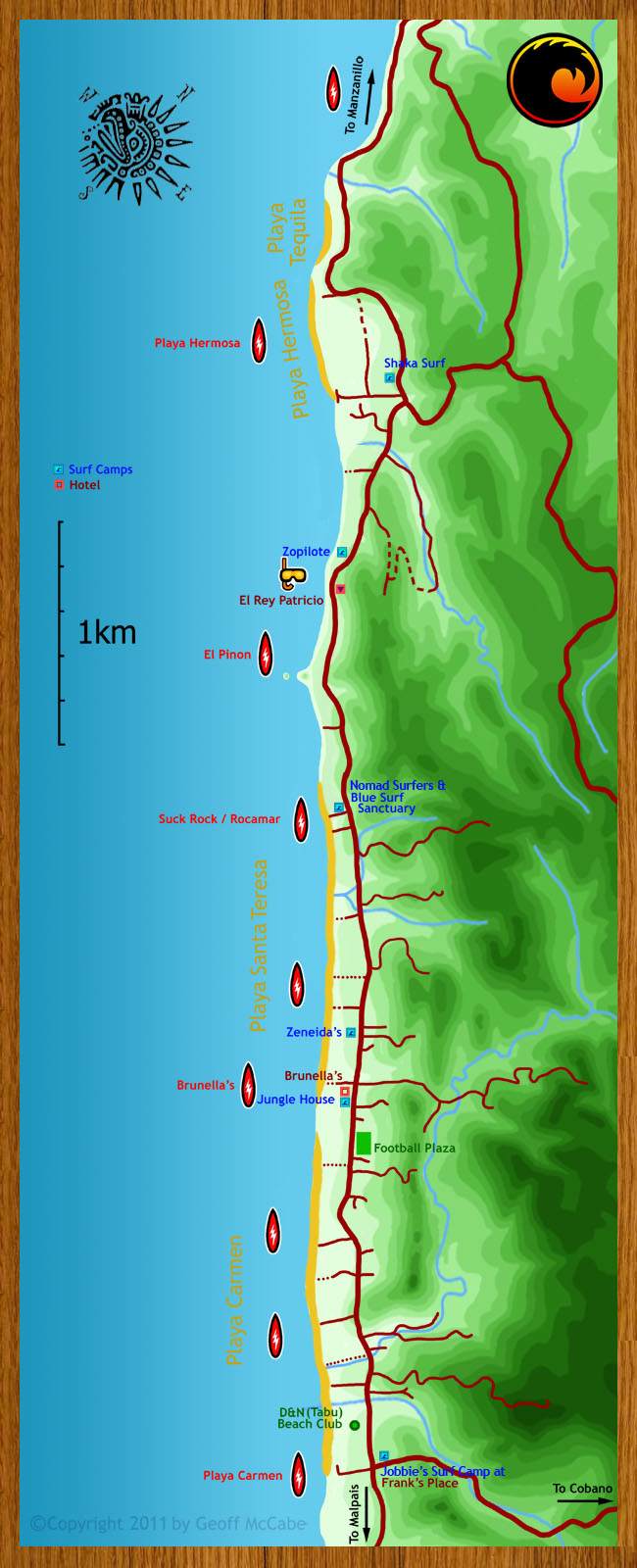 Map of surf camps, surf retreats, and surf schools in the Santa Teresa and Malpais towns of Costa Rica.